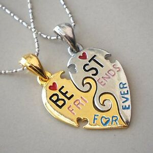Split heart friendship best friends forever memorable gold silver image is loading split heart friendship best friends forever memorable gold aloadofball Choice Image