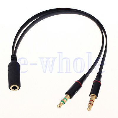 3.5mm Headphone Mic Audio Y Splitter Cable 1 Female to Dual Male Black TW