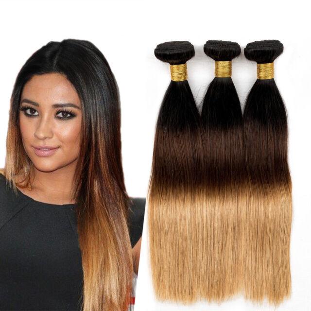 3Pcs/150g Brazilian Virgin Ombre Hair Straight Human Hair Weave 1b/4/27 Colors