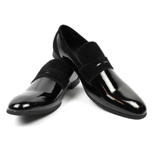 b90a179eeb New Men s Black Tuxedo Slip On Patent Suede Details Dress Shoes Bradley By  AZAR
