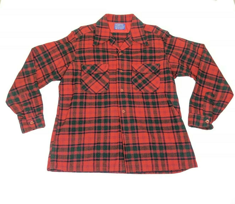 Vtg Pendleton Red Plaid Wool Button Front Board Shirt Loop Collar Mens Sz Large