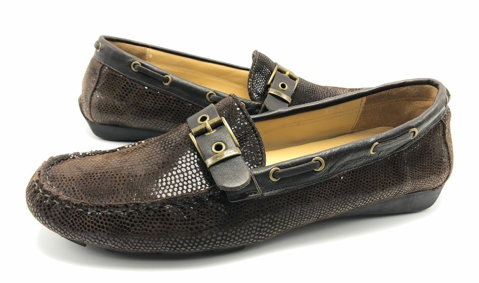Vaneli Womens 9.5M Brown Sparkle Leather Slip On Driving Moccasins Loafers shoes