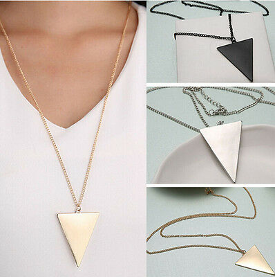 Fashion Womens Punk Triangle Pendant Retro Long Chain Sweater Necklace Jewelry
