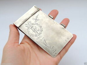 Rare-Original-Russian-USSR-Sterling-Silver-875-Antique-Diaries-Cover-Case-Signed