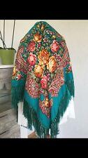 Russische Folklore  Tüch  Schal aus  Wolle-Seide Fransen 110x110cm