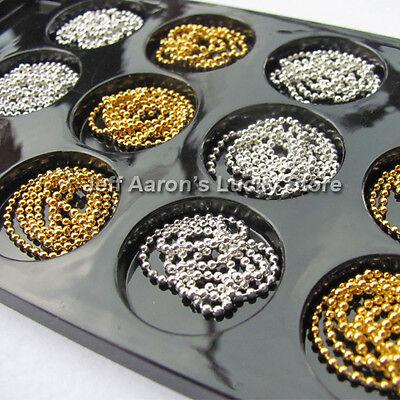 12 Gold silver 3d acrylic nail art caviar ball beads chain metallic decorations