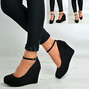 new womens ladies ankle strap court pumps black suede high