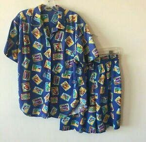 Hawaii Cabana Pool Shirt & Shorts Set Vintage 1970's Hawaii Herren Medium M