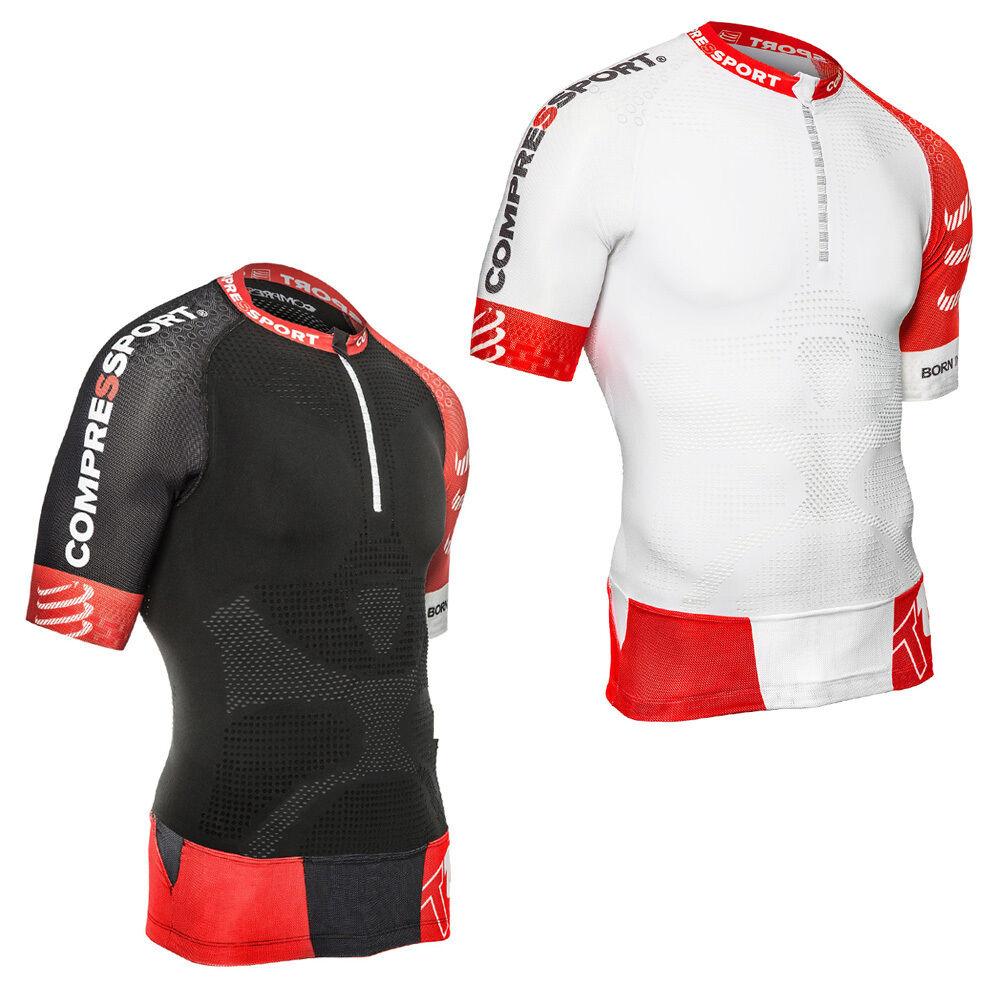 Thermal T-shirt Compressport TRAIL RUNNING SHIRT V2 SHORT SLEEVE Weiß   schwarz