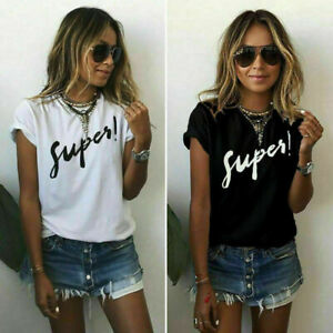 Womens-Letter-Blouse-Short-Sleeve-Ladies-Casual-Loose-Tops-Summer-Tee-T-Shirt