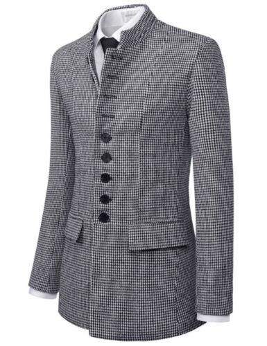 TheLees Mens Wool Blend Mandarin Collar Single Napoleon Jacket Coat NKSC702