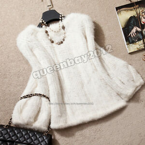 100-Real-Knitted-Mink-Fur-Pullover-Poncho-Jacket-Coat-Cape-Sweater-Warm-custom