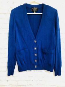 65d1b479fd90 St John Collection Womens Blue Knit Cardigan Blazer-Flower Buttons ...