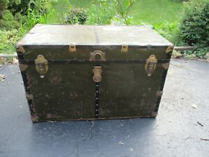 Antique-Green-Metal-amp-Wood-Travel-Storage-Steamer-Chest-Trunk-table-top-restore