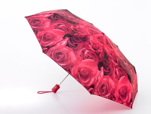4 Umbrella Photo Roses Red Fulton Ladies Compact//Folding Auto Open /& Close