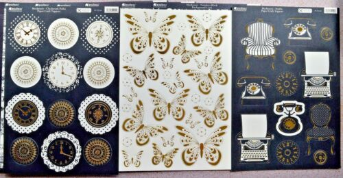 10 x A4 Sheets Kanban MacKenzie-die cut Foiled Toppers Backing Card /& Flowers