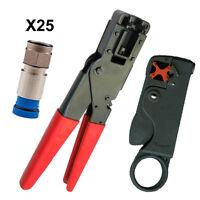 Coax Cable Install Tool Kit Pro Grade + 25 Belden Rg6 Compression Connectors