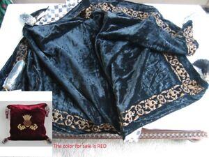 Mackenzie-Childs-Retired-HIGHBANKS-Velvet-Embroidered-Throw-w-Tassels-RED-m18-a2