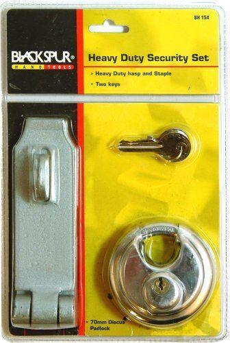 HEAVY DUTY SECURITY SET HASP AND STAPLE 70MM DISC ROUND PADLOCK 2 KEYS