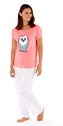 Ladies Girls Owl Pyjamas Pajamas Set Sleepwear Long Gift