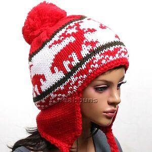Image is loading Nordic-Peruvian-Earflap-BEANIE-Ski-Hat-Winter-Cap- b7df09df427