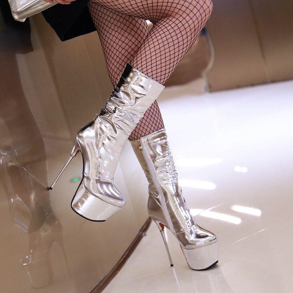 Elissara femmes Stiletto Zip High Heel Platform Mid Calf bottes AU Taille 2-9 argent
