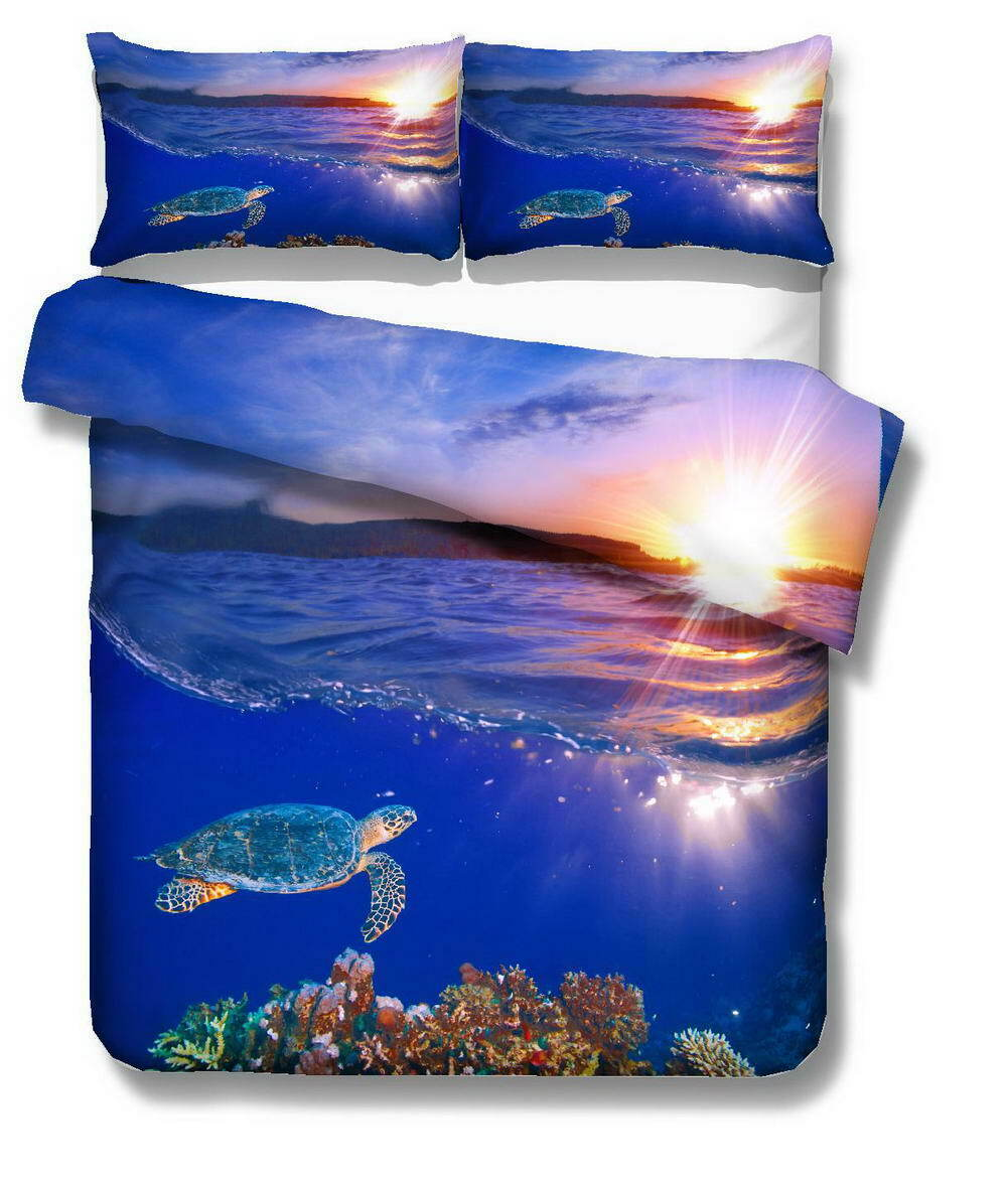 Azure Nice Turtles 3D Quilt Duvet Doona Cover Set Single Double Queen King Print