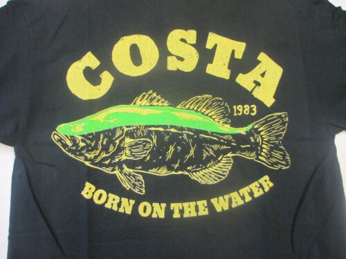 New Authentic Costa Del Mar, Big Bass ,Black, Short Sleeve TShirt Size 2XL