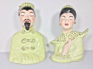 Vintage-Mid-Century-Set-of-Chinese-Ceramic-Busts-Hand-Painted-Figures-Green