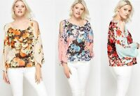 WOMENS LADIES PLUS SIZE FLORAL CHIFFON SUMMER HOLIDAY KAFTAN TOP SIZE 16 - 18