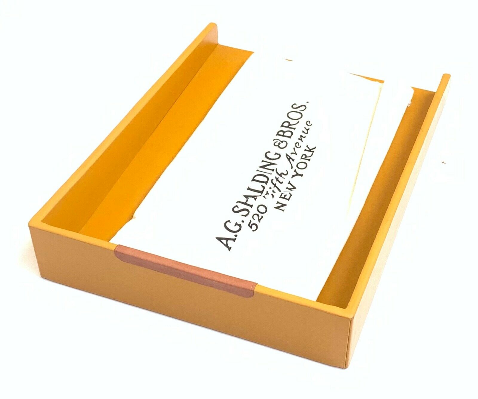 a.G Spalding & Bros Calf Vegetable Tanned Leather Document Tray, Mustard