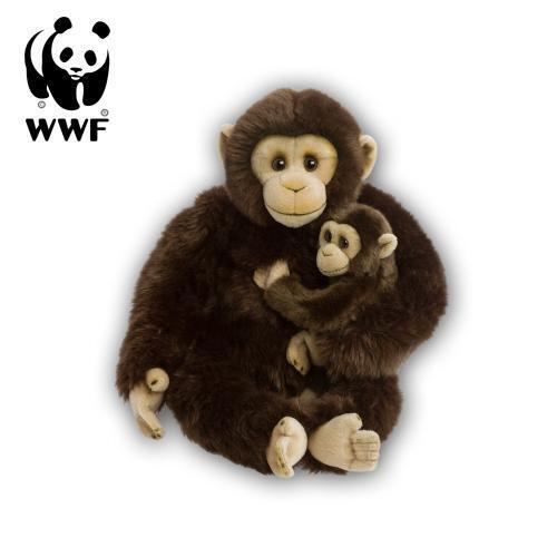 Wwf Peluche Scimpanzé Madre con Bambino  30cm  Animali Impagliati Scimmia Bimbo