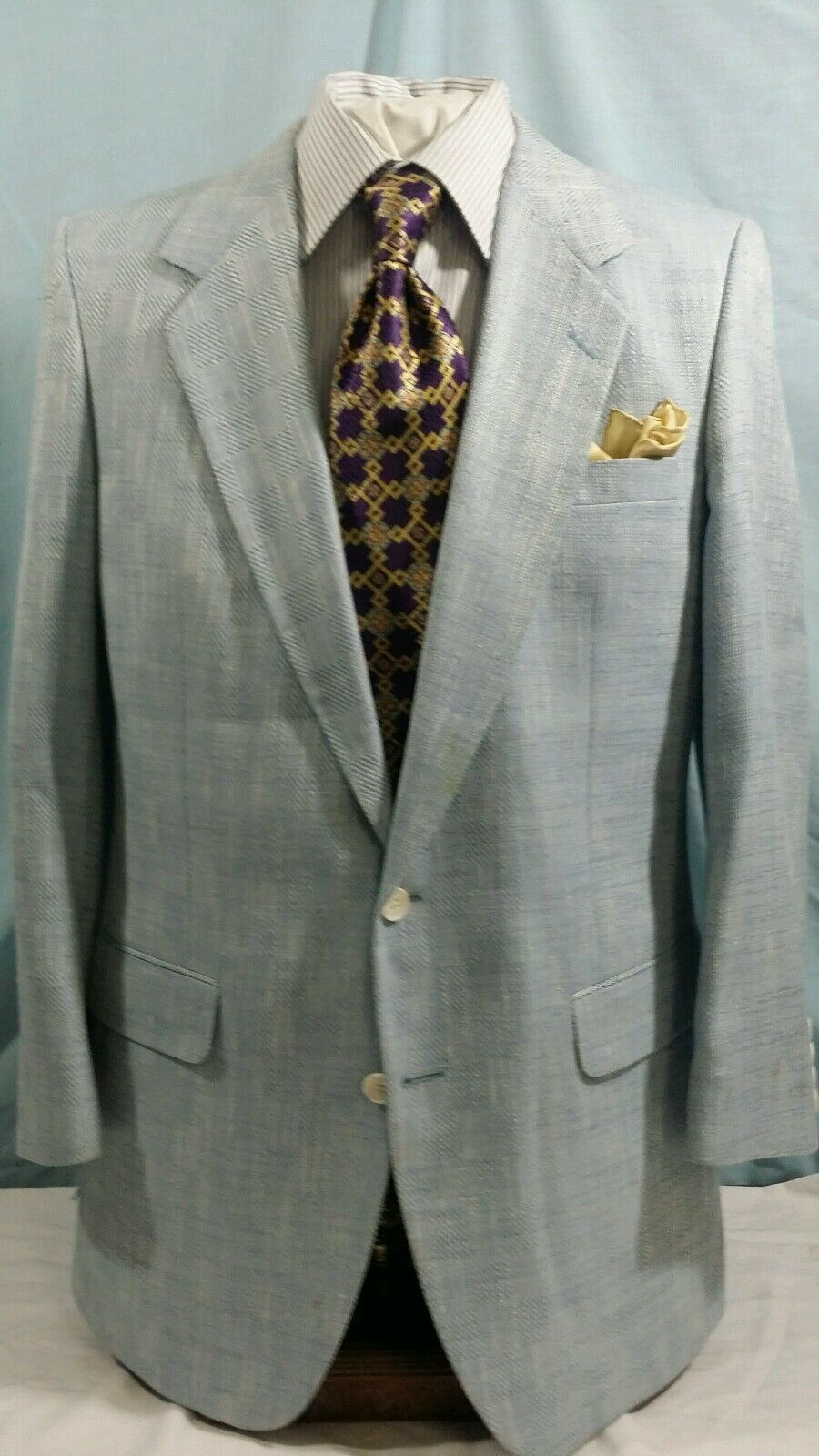 Herren KINGRIDGE light Blau 2 button single vent silk sport coat sz 42R