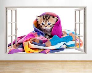 F960 Cute Kitten Blanket Cat Girls Window Wall Decal 3D Art Stickers Vinyl Room