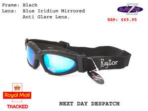 7eefdcf1f2b RAYZOR UV400 Black 2n1 CYCLING MTB SUNGLASSES GOGGLES Blue Mirrored ...