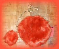 2017 Rust Faux Fur Round Pompom Chain Crossbody Bag Purse Handbag Us Seller