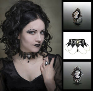 Cameo-choker-and-ring-matching-set-gothic-goth-lace-necklace-victorian-SINISTRA