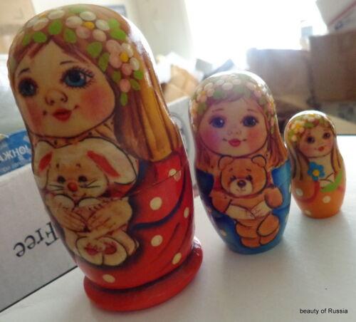 Superb girls bear dog RUSSIAN NESTING DOLL 3 PCS  LARGE 4.2* #2