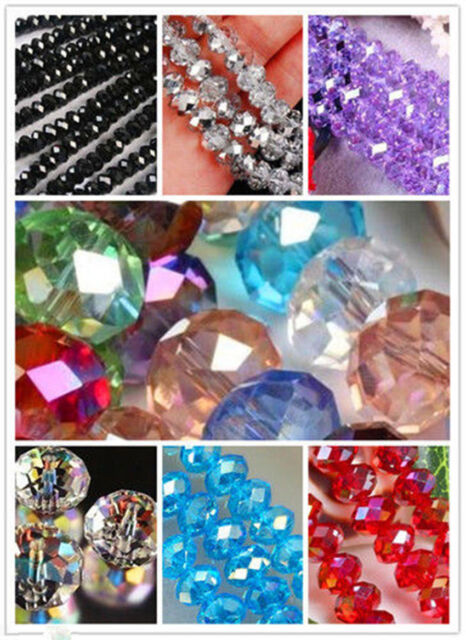 Wholesale!! New 25 colours FACETED RONDELLE Crystal Loose Beads free shipping