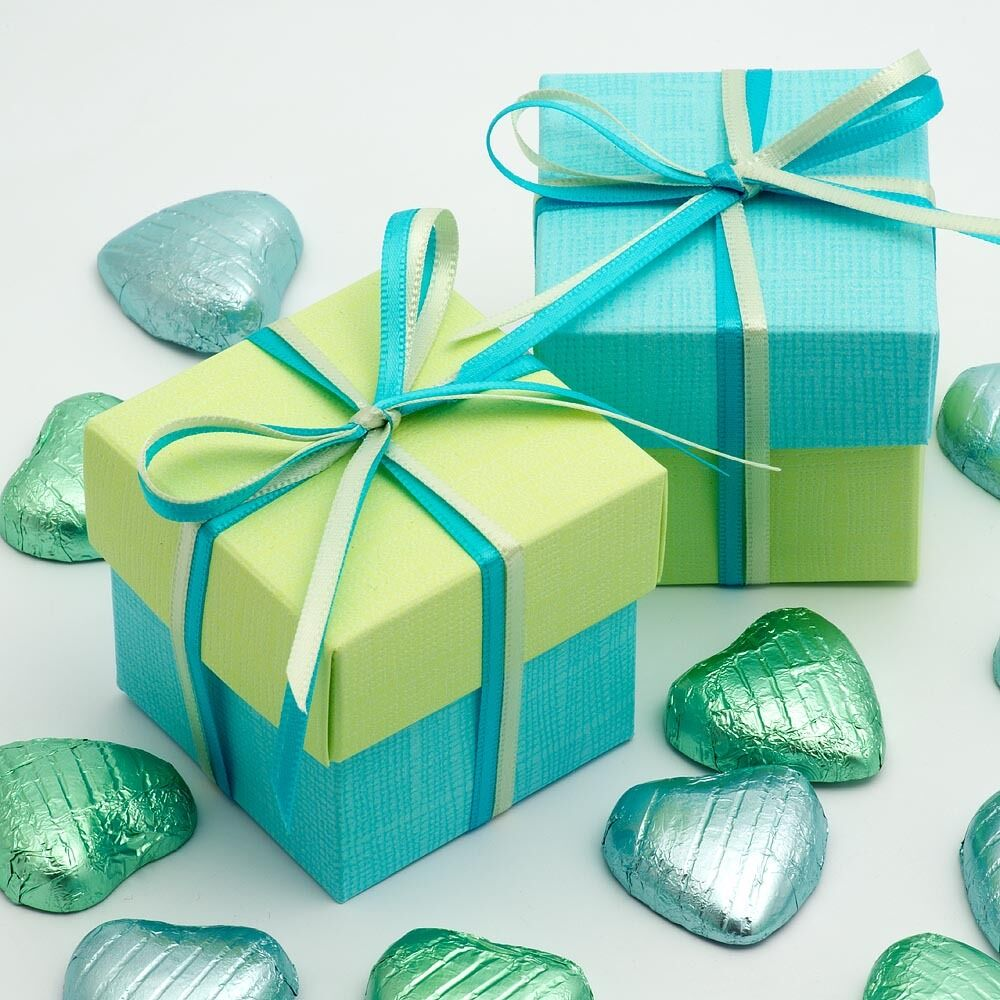 CELESTE Blau & LIGHT Grün SQUARE BOX & LID WEDDING FAVOUR BOX -CHOOSE QUANTITY