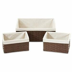 Americanflat Storage Baskets Bins Woven Brown Set of 3 with Linen Liners