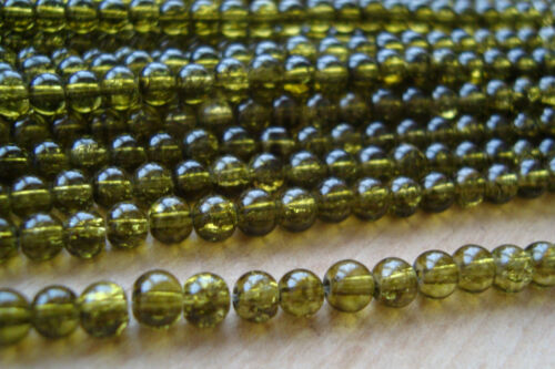 2 x 200pc Strands 400 pcs ** **Crackle Glass Beads –  4.0mm dia – OLIVE GREEN