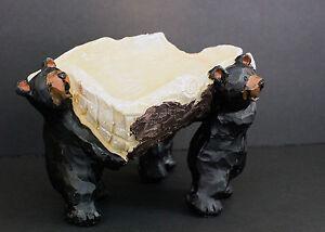 Black Bears Holding Tree Log Wine Bottle Holder Or Slanted