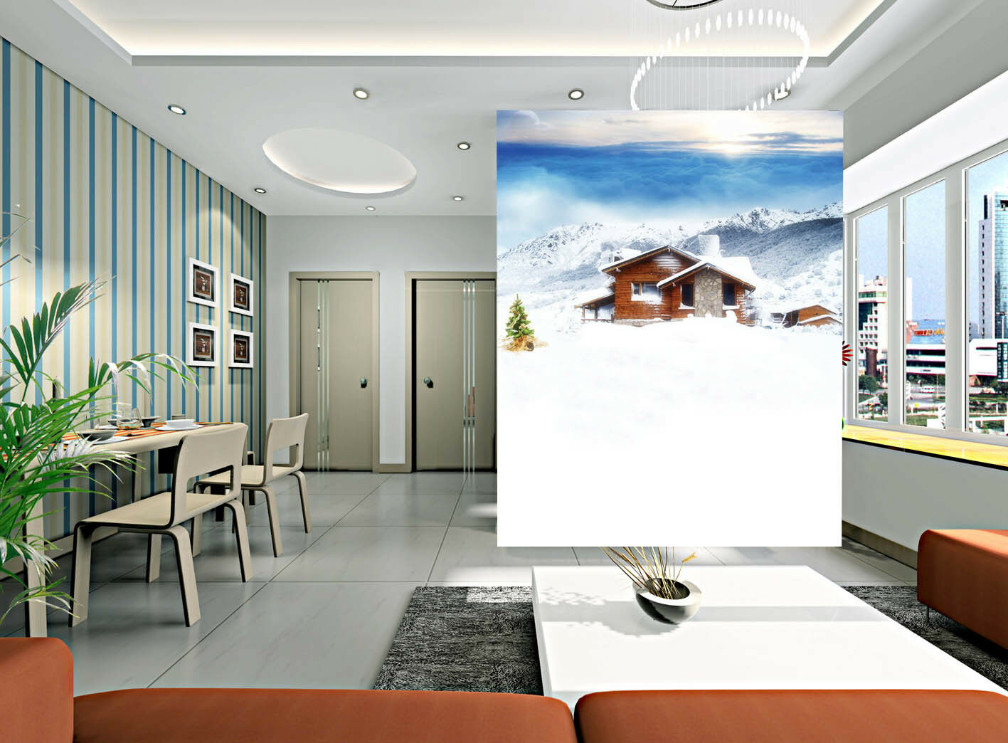 Papel Pintado Mural De Vellón Casa  Escena De Nieve 21 Paisaje Fondo De Pantalla