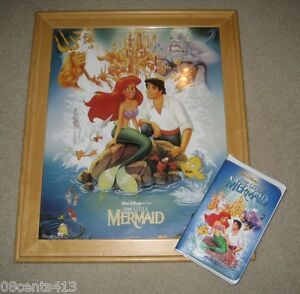 The-Little-Mermaid-With-Banned-Cover-Art-Disney-VHS-amp-Framed-Poster-RARE