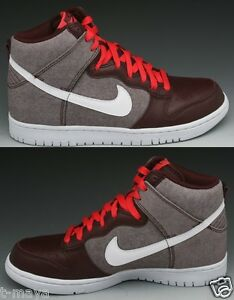 NIKE DUNK HIGH PREMIUM MEN'S RED MAHOGANY - WHITE NEW IN BOX AUTHENTIC SELECT SZ