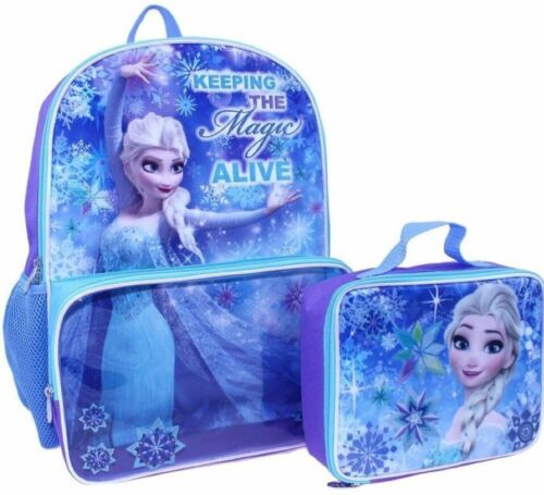 New Disney/'s Frozen Elsa Backpack with Clear Pocket Lunchbox Bag 16in Backpack