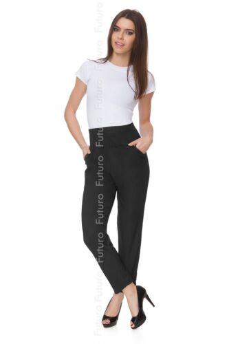 Women Full Length Elegant Straight Leg Pants High Waist Plus Size Trousers 8041B