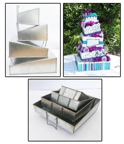 Set of 4 Tier Mini Topsy Turvy Square Multilayer Birthday Anniversary Cake Tins