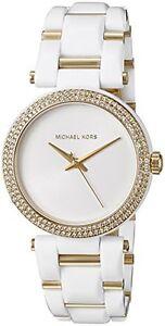 New-MICHAEL-KORS-DELRAY-Gold-White-Acetate-Crystal-Glitz-Women-039-s-Watch-MK4315